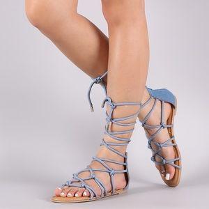 Light Blue & Denim Knotted Lace Up Sandals 💙
